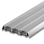 "1 Meter Triple Wide Aluminum Extrusion with Clear Diffuser - .25"" with Wings"