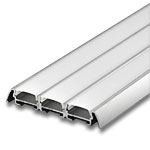 "1 Meter Triple Wide Aluminum Extrusion with Frosted Diffuser - .25"" with Wings"