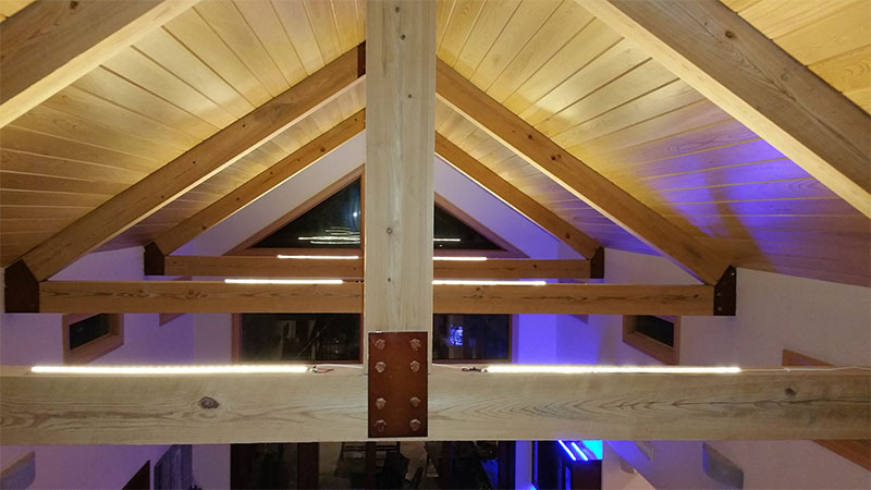 cathedral ceiling recessed lighting ideas - Ultra Warm White LED Strips light up the vaulted ceilings