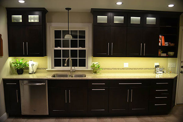 Kitchen cabinet lighting using warm white led strip lights aloadofball