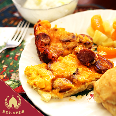 Christmas Breakfast Casserole with Smoked Sausage