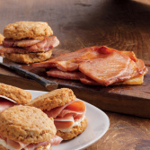 Uncooked Country Ham Slices and Sweet Potato Biscuits