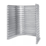 Galvanized window well with a rugged one-piece steel construction to withstand the pressures of heavy soil.