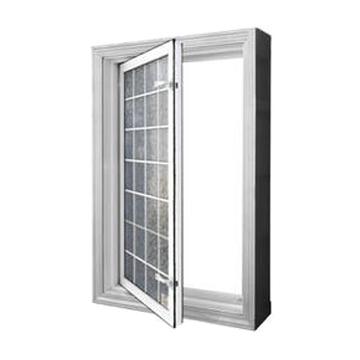 Acrylic block windows with in-swing capabilities for safe basement egress. Lighter than regular glass block windows.