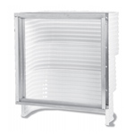 Basement egress window well by Monarch. Made of galvanized steel with built-in steps to easily escape fire.