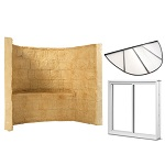 Egress basement windows plus window well and cover in a 3-in-1 kit to provide a means of safe escape.