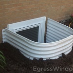 Outside view of the steel well installed from the Stif Back II egress kit.