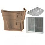Finished basements completed safely and easily with a 3-in-1 egress window kit, containing well, window and well cover.