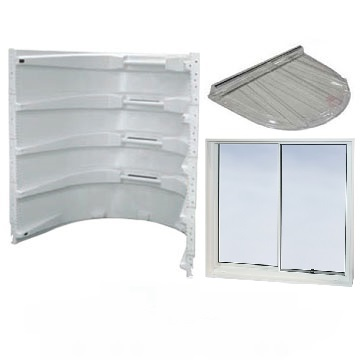 Egress window kits to comply with IRC 2009 code, complete with modular window well, sliding window and well cover.
