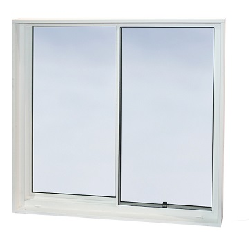 Sliding basement window that fulfills IRC egress requirements for home fire safety. Highly efficient double-glazed insulated glass.
