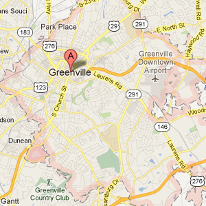 Greenville map from Google