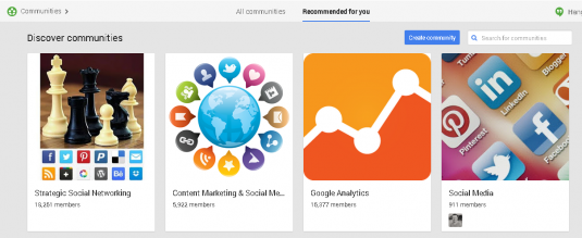 Google + Recommends Communities