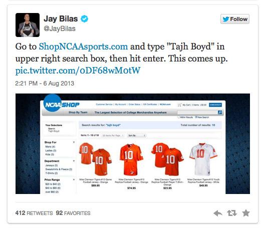 Jay Bilas Tweets ShopNCAASports.com Search Results, Embarrasses NCAA 2013-08-09 12-38-36