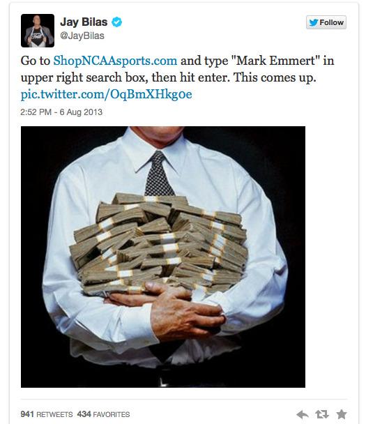 Jay Bilas Tweets ShopNCAASports.com Search Results, Embarrasses NCAA 2013-08-09 12-53-31