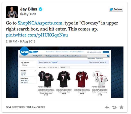 Jay Bilas Tweets ShopNCAASports.com Search Results, Embarrasses NCAA 2013-08-09 12-54-19