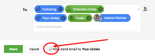 Sending email to Google+ circles