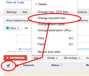 Ad Words Keyword Text Change