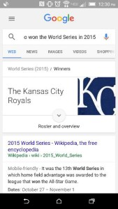 Voice search for the winner of the World Series in 2015.