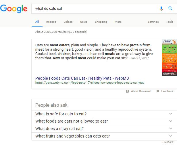 screenshot of google query