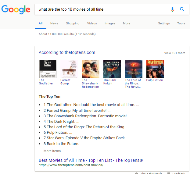 screenshot of top 10 movies search
