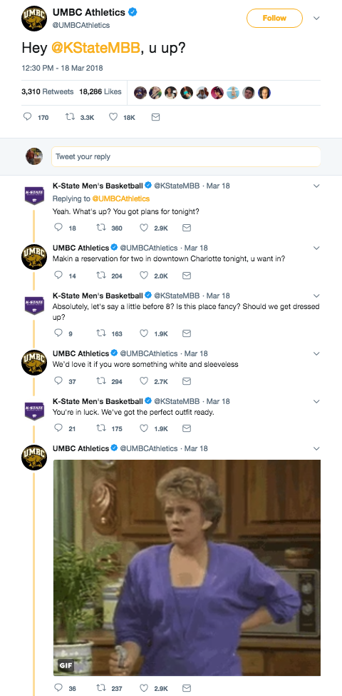 UMBC and KSU Tweets demonstrate that these organizations promote professionalism and good sportsmanship as part of their internal social media best practices.