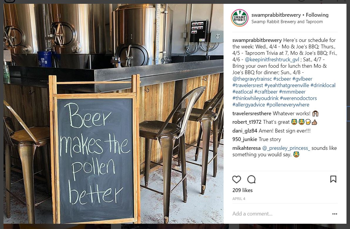 swamp rabbit brewery instagram