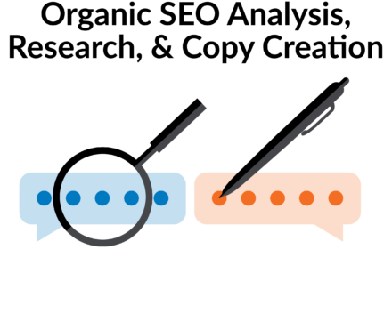 Depiction of SEO analysis; a magnifying glass hovers over a blue speech bubble and a pen hovers over an orange speech bubble