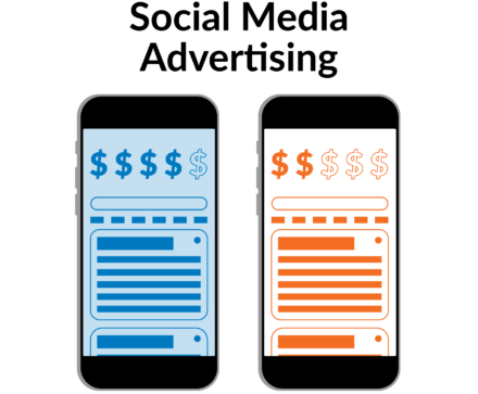 Depiction of A/B testing on mobile social media ads