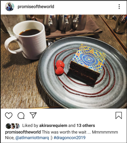 Instagram screenshot showing a picture of the Marriott carpet cake sold during DragonCon at the Marriott Marquis in Atlanta.