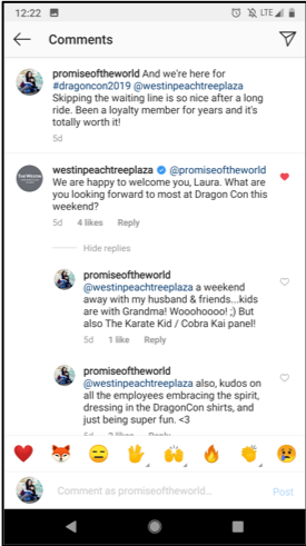 Instagram screenshot showing a conversation between Laura (author) and the Westin Peachtree Plaza where they welcome her to DragonCon.