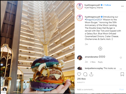 "Social Media post by the Hyatt Regency hotel in Atlanta showcasing their ""Mission to the Moon"" Burger for DragonCon."