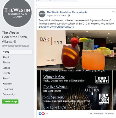 Social media post by the Westin Peachtree Plaza Atlanta showcasing their Games of Thrones themed drinks for DragonCon.