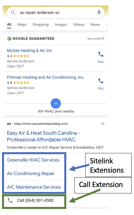 screenshot of Google Ad with Call Extension and Sitelink Extensions