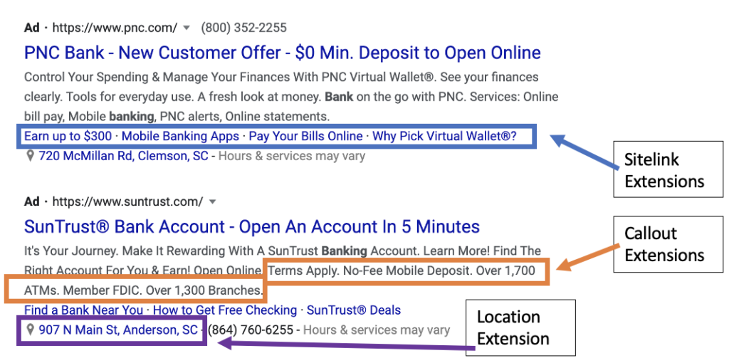 Screenshot of a Google Ad with Location Extension, Callout Extensions, and Sitelink Extensions