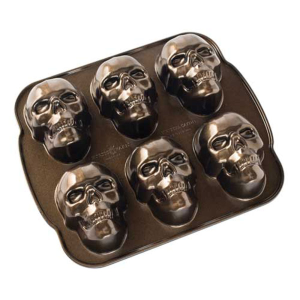 LTD QTY!  Haunted Skull Cakelet Pan - Nordic Ware