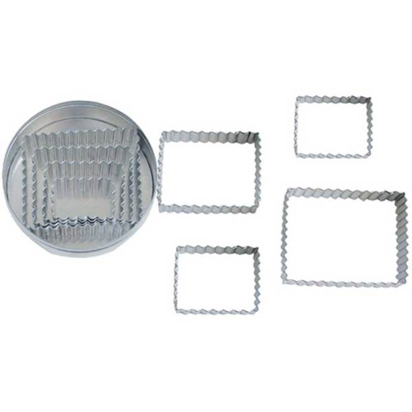 Fluted Rectangle Cutter Set of 4, 1.5