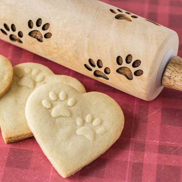 Cat Paw Print Wooden Rolling Pin