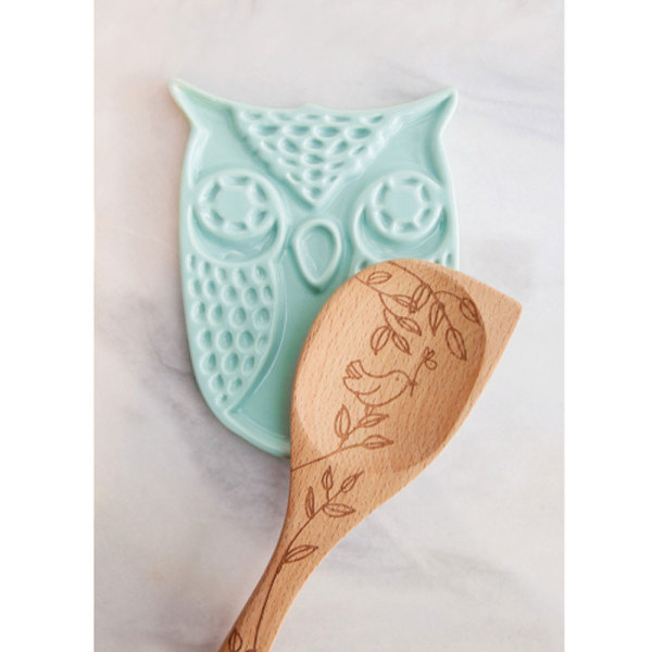 SALE! Blue Owl Ceramic Spoon Rest