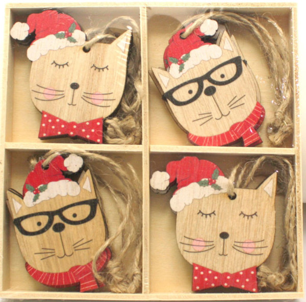Wood Mini Cat Ornaments