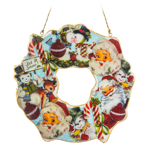 SOS!  Small Retro Santa Wreath