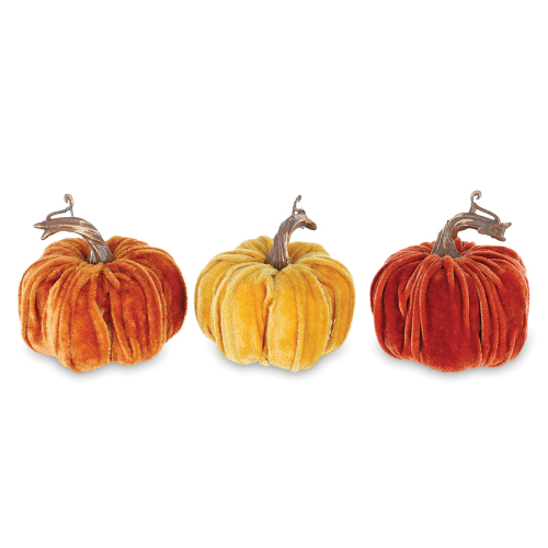 Trio of Velvet Pumpkins