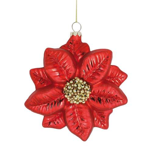 Poinsettia Glass Ornament