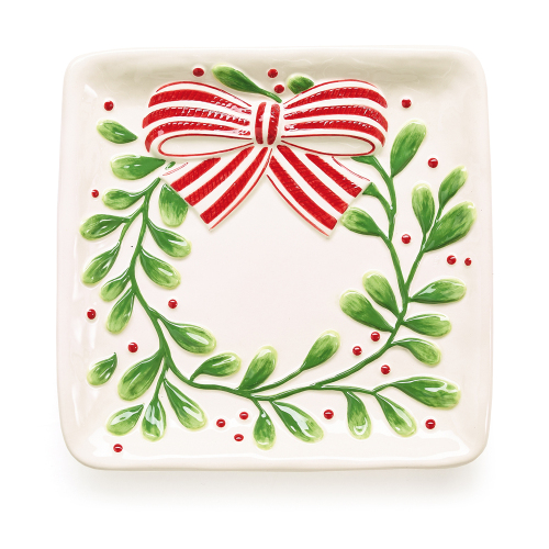 SOS!  Mistletoe Wreath Plate