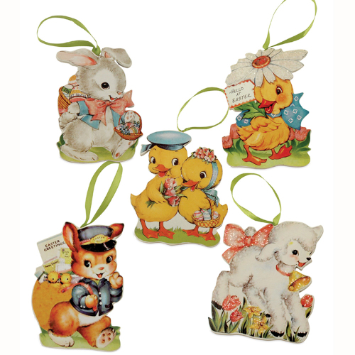 LTD QTY!  Retro Easter Ornament Set