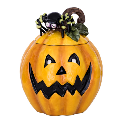 SOS!  Pumpkin Cookie Jar with Spider