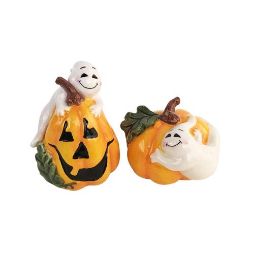 SALE!  Ghosts On Pumpkins Salt & Pepper Set