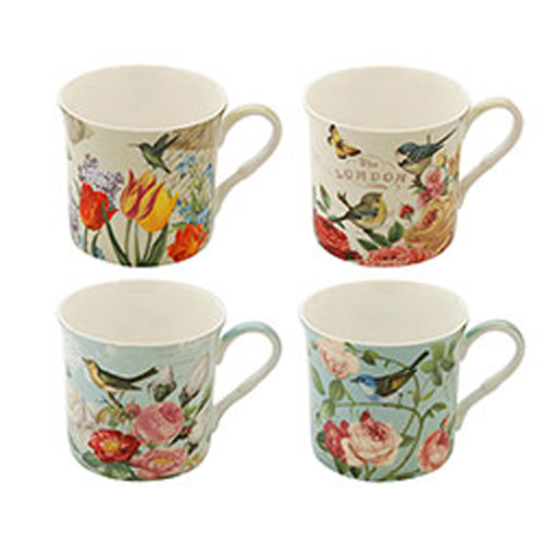 Botanical Birds Princess Mug Set