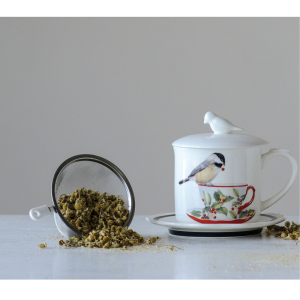 Chickadee Mug & Saucer with Lid & Strainer