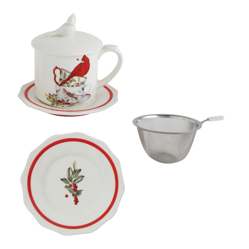 SALE!  Cardinal Mug & Saucer with Lid & Strainer