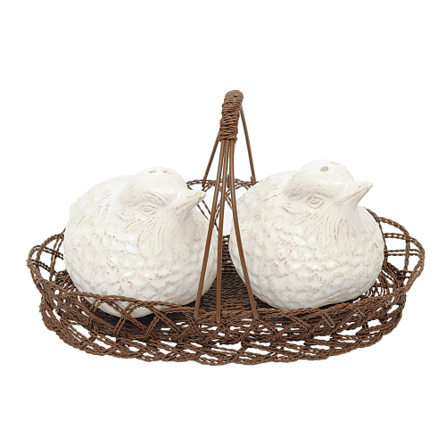 Bird Shaker Set in Wire Basket
